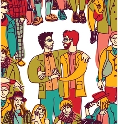 Gay couple lgbt and crowd love people coming out vector image