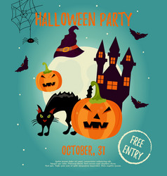 halloween background with creepy house moon cat vector image vector image
