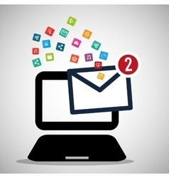laptop message email social media icons vector image vector image