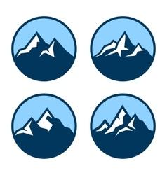 Mountain in circle logo design elements vector