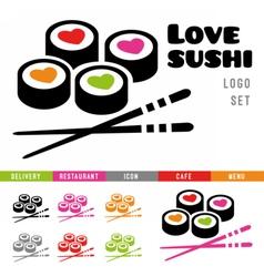 Sushi restaurant logo template vector