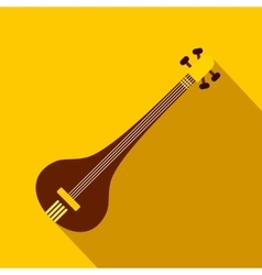 Traditional Indian sarod icon flat style vector image