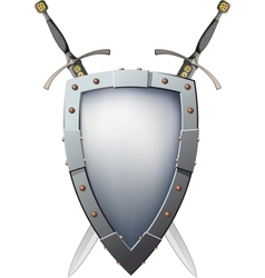 Two crossed swords that are behind the shield vector image vector image