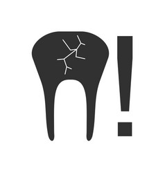 Black icon on white background tooth fracture vector