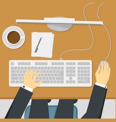 businessman working on desktop computer vector image