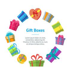 cartoon color gift boxes banner card circle vector image