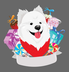 cartoon portrait of a dog with a christmas present vector image