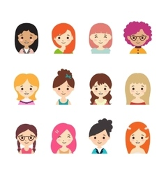 Collection of different avatars with women vector image