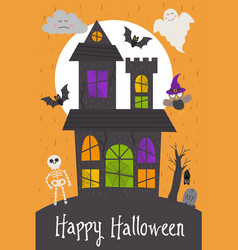 halloween card design with castle vector image