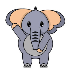 Adorable elephant wild animal with hand up vector