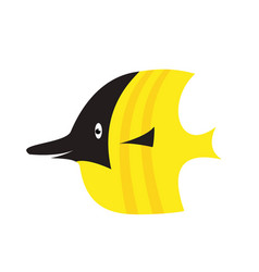 an a happy yellow cartoon fish vector image