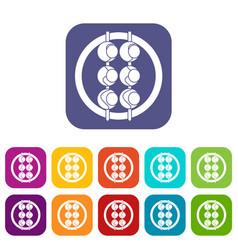 Asian shashlik icons set flat vector