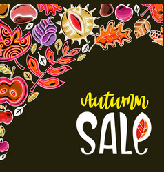 autumn harvest festival greeting card background vector image
