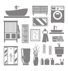 Bathroom Furniture Icons vector image