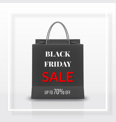 black friday sale realistic black paper shopping vector image