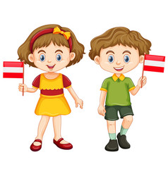 Boy and girl holding flag of austria vector