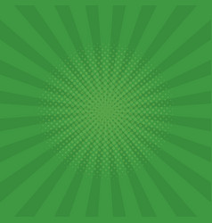 Bright green rays background comics pop art style vector