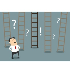 Businessman choosing ladder to success vector image