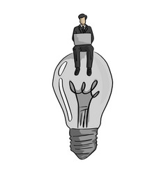 businessman using laptop computer on big bulb vector image