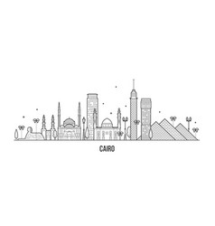 cairo skyline egypt city buildings line art vector image