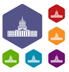 capitol icons set vector image