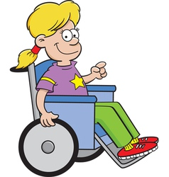 Cartoon Girl in a Wheelchair vector image
