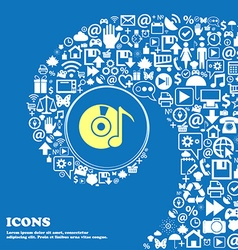 Cd player icon sign nice set beautiful icons vector