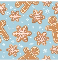 Christmas gingerbread seamless pattern vector image