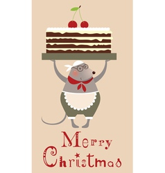 Christmas mouse with cake vector image