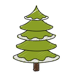 Christmas pine tree icon vector