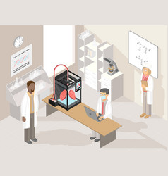 clinic laboratory with medical 3d printer and vector image vector image