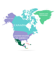 colorful map north america continent vector image