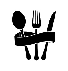 Contour cutlery with elastic icon image vector
