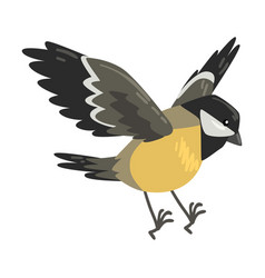 Cute flying titmouse winter bird beautiful vector