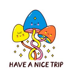 Cute magic mushrooms cartoon vector