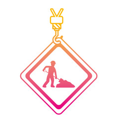 Degraded line caution diamond emblem with laborer vector