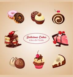 Delicious cakes collection vector
