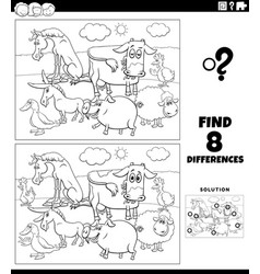 differences game with farm animals coloring book vector image