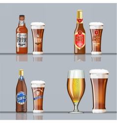 Digital brown beer set mockup vector