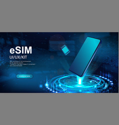 esim and smartphone hologram vector image