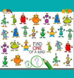 Find one of a kind game with aliens characters vector
