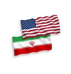 Flags iran and america on a white background vector