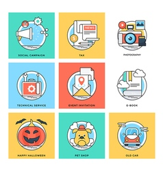 Flat Color Line Design Concepts Icons 5 vector image