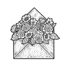 flowers in envelope sketch vector image