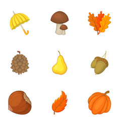 forest resources icons set cartoon style vector image