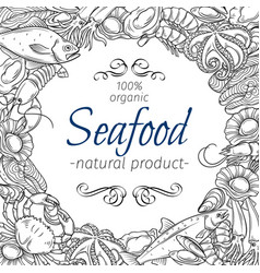 frame template hand drawn seafood vector image