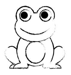 Frog cute animal sitting cartoon vector