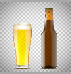 glass of beer and a bottle vector image