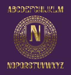 Golden glittering letters with monogram template vector