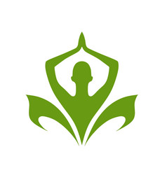 green yoga and care logo template vector image
